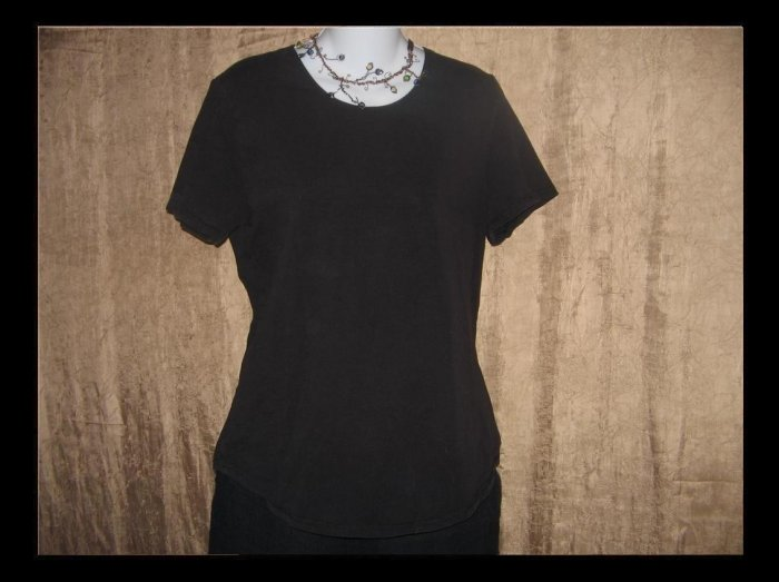 reFLAXation Black Knit Tee Shirt Top Jeanne Engelhart FLAX Small S