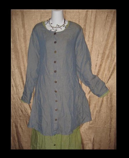 FLAX by Jeanne Engelhart Blue Potato Magic Jacket Shapely Tunic Top Dress 2 Generous 2G