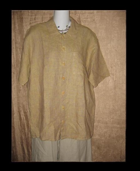 FLAX by Jeanne Engelhart LINEN Button Shirt Top Petite