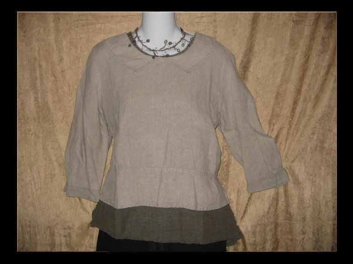 FLAX by Jeanne Engelhart Shapely Collared Shirt Tunic Top Petite P