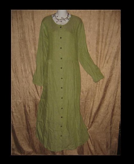 FLAX by Jeanne Engelhart Green Duster Dress 1 Generous 1G