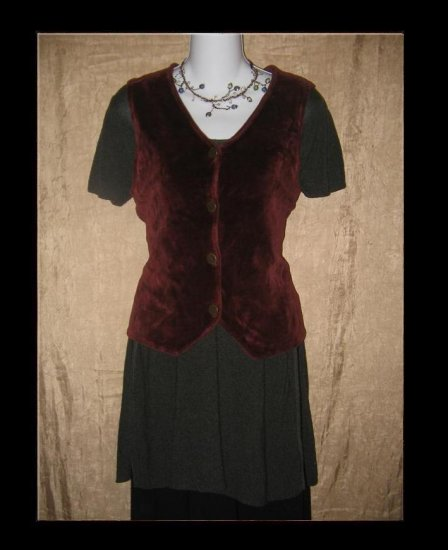 Jeanne Engelhart Flax Burgundy Cotton Velour Vest Small S
