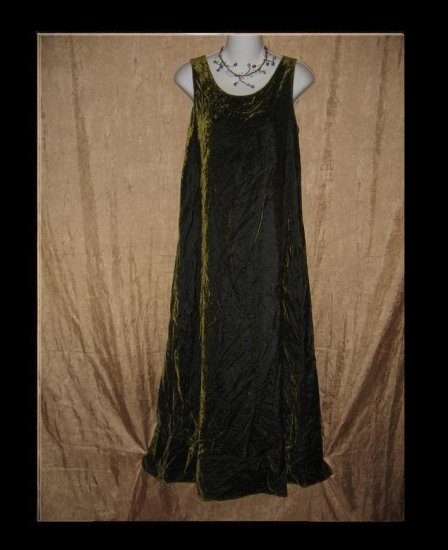 Amazing Boutique Long Moss Green Velvet Slip Dress Medium Large M L
