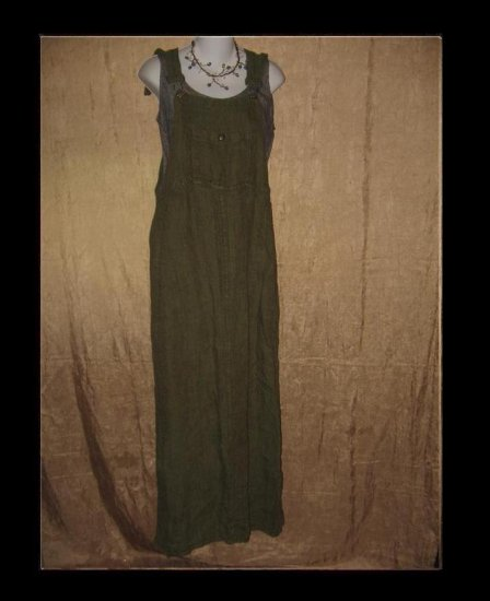 FLAX Adjustable Bark Cloth LINEN Jump Dress Jeanne Engelhart Medium M
