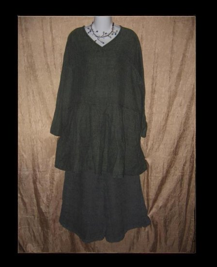 FLAX by Jeanne Engelhart Green Thermal LINEN Tunic Top Dress Shirt Medium M