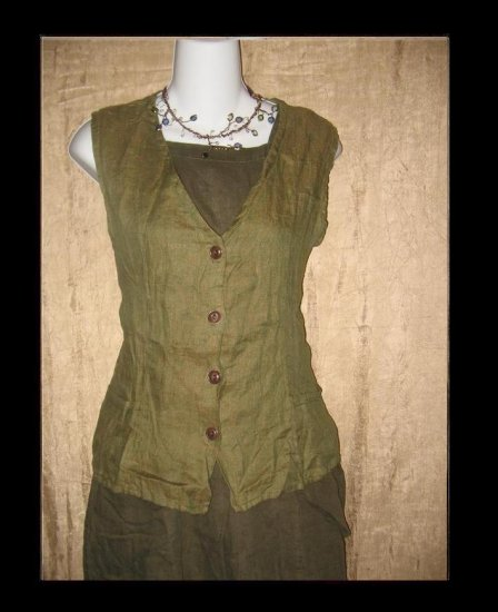 FLAX by Jeanne Engelhart Shapely LINEN VEST Small S