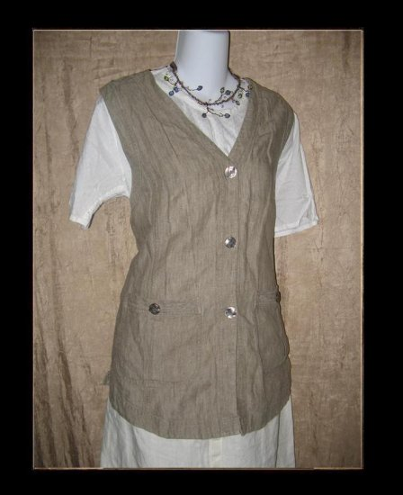 J. Jill Shapely Earthy LINEN Tunic Vest Medium M