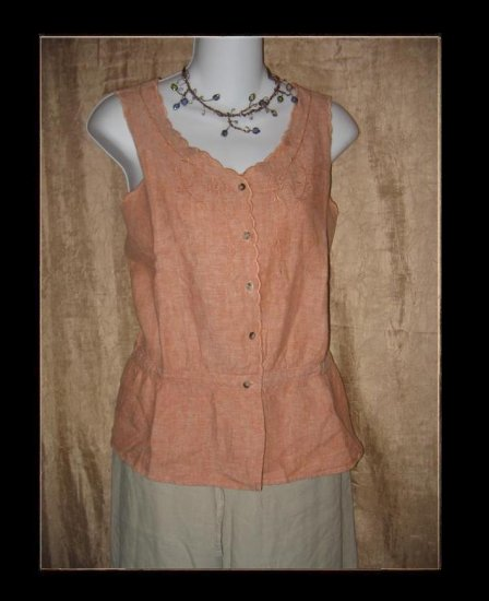 J. Jill Elegant Cutwork Linen Sleeveless Blouse Medium M