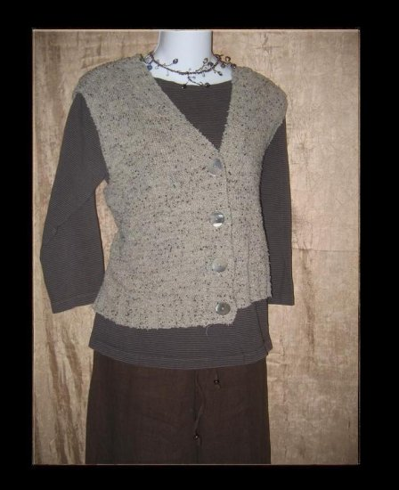 FLAX by Angelheart Button Sweater Vest Jeanne Engelhart Small Medium S M