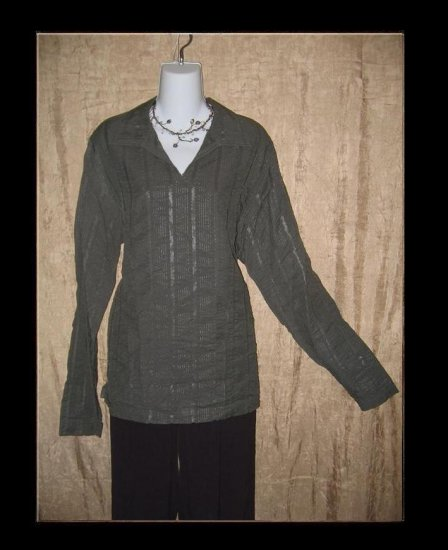 Chikoo Mumbai-77 Gray Woven Striped Tunic Top Shirt Medium M
