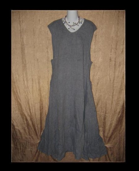 FLAX by Jeanne Engelhart Blue LINEN Jumpment Dress Medium M