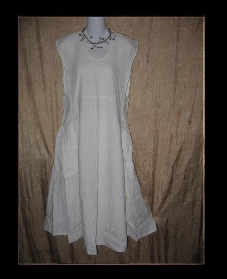 FLAX by Jeanne Engelhart White LINEN Jumpment Dress Small S