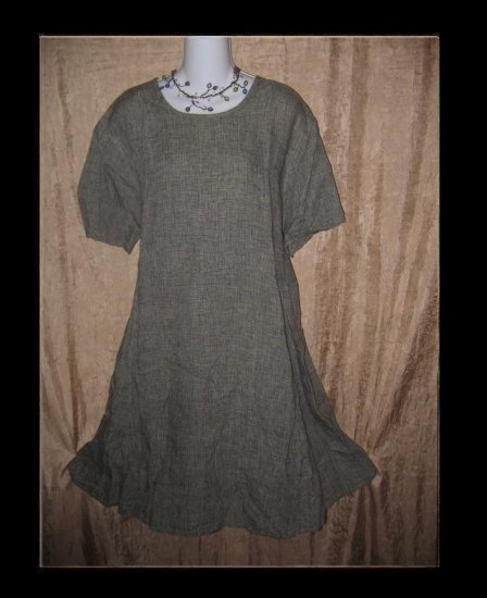 FLAX by Jeanne Engehart Short Shapely Tunic Dress Large L
