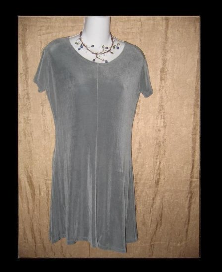 FLAX by Jeanne Engelhart Short Shapely Slinky Gray Knit Dress Small S