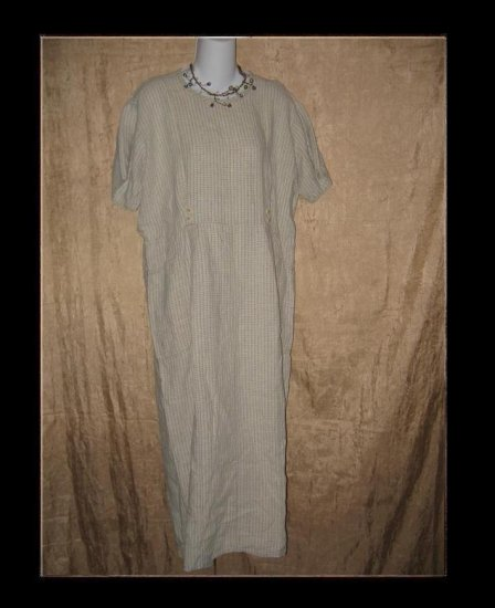 FLAX by Jeanne Engelhart Plaid LINEN Dress Medium M