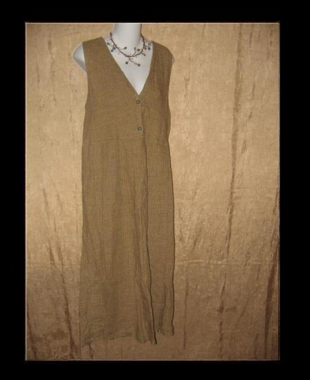 FLAX by Jeanne Engelhart Plaid Linen Jump Dress Small S