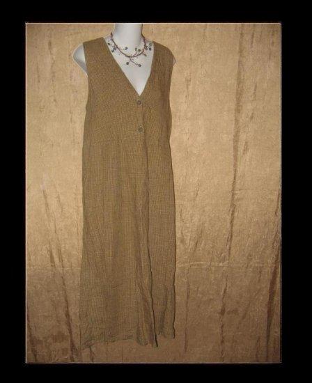 FLAX by Jeanne Engelhart Plaid Linen Jump Dress Small S