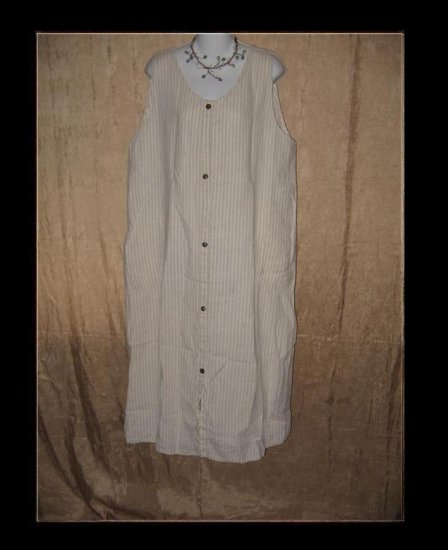 FLAX by Angelheart Jeanne Engelhart Striped LINEN Jump Dress Large L