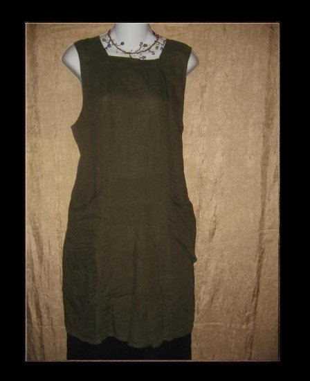 FLAX by Jeanne Engelhart LINEN Short Bark Jibe Jumpette Dress Small S