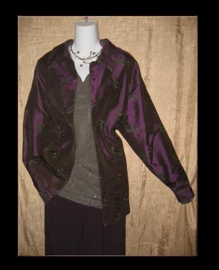 Coldwater Creek Embroidered Purple Silk Button Shirt Tunic Top 1X