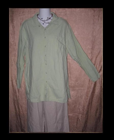 J. Jill Soft Green Snappy Tunic Top Shirt Medium M