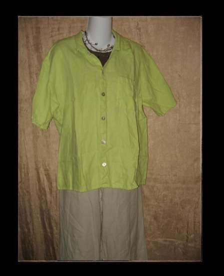 FLAX Green LINEN Button Shirt Top Jeanne Engelhart Petite P
