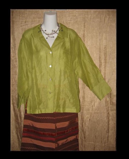 Chico's Design Green SILK & LINEN Button Shirt Top Size 0 Small S