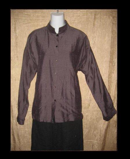 EILEEN FISHER Boxy Purple Silk Button Shirt Tunic Top Jacket Large L