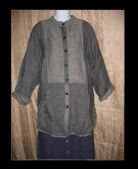 FLAX by Jeanne Engelhart Long Linen Button Shirt Tunic Top Small S