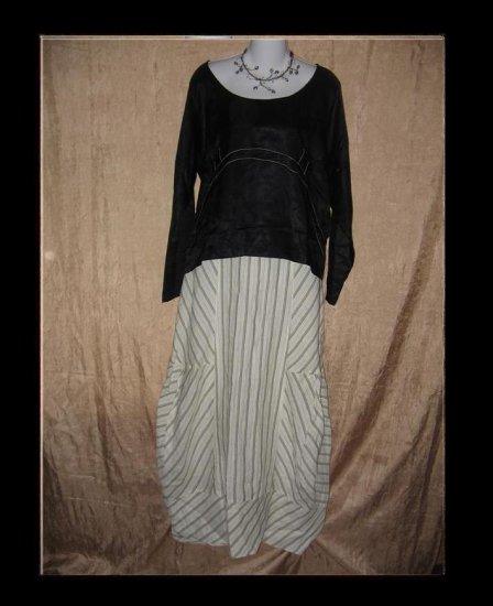 KRISTA LARSON Black Acetate Pullover Shirt Tunic Top One Size