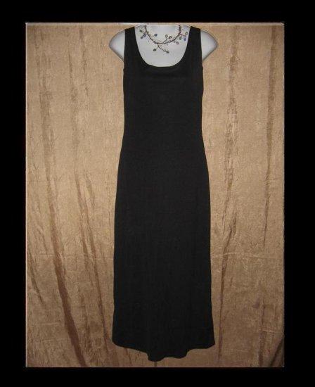 Long Slinky Shapely Black Knit Slip Dress Small Medium