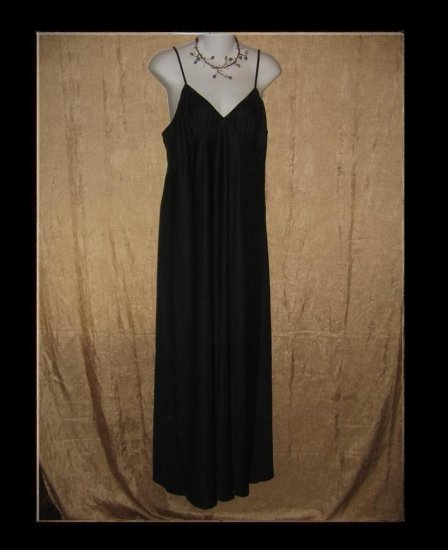 CLEA New Slinky Black Knit Slip Dress Engelhart Flax Large L