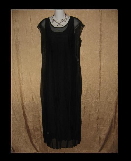 CLOTHESPIN Ethereal Black Ruffled Dress Engelhart Flax Large L