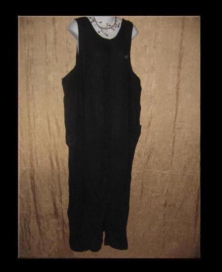 FLAX Jeanne Engelhart Long Black LINEN Jump Dress Medium M