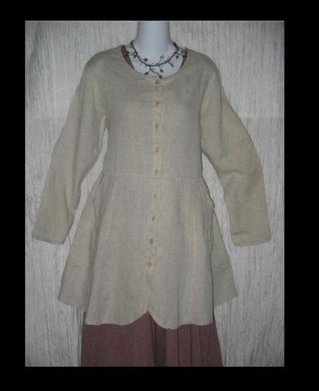 Flax by Jeanne Engelhart Shapely LINEN Tunic Dress Jacket Shirt Top P