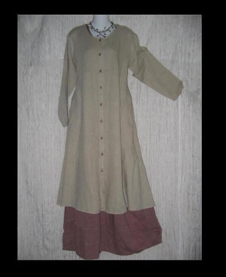 Flax by Jeanne Engelhart Shapely LINEN Duster Coat Jacket Small S