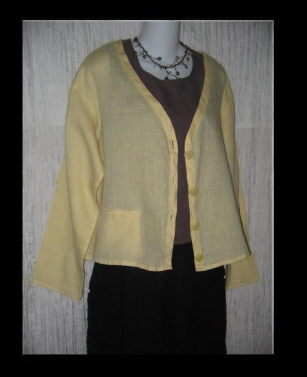 FLAX by Jeanne Engelhart Butter Cardigan Button Shirt Top Small S
