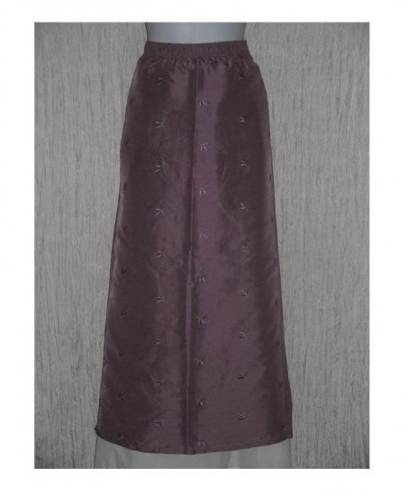 TSD Two Star Dog Long Embroidered Silk Skirt Medium M