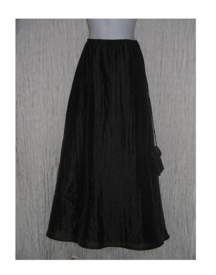 A.B.S. Evening Essentials Long Full Textured Black Skirt Medium M