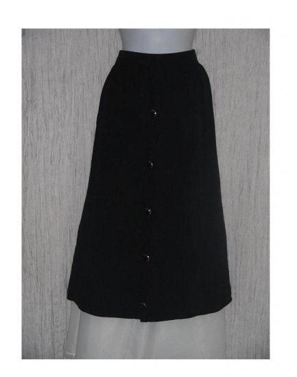 ST. JOHN Seperates Long & Full Black Knit Skirt w Gold Buttons 10