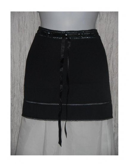 NWT Betsey Johnson Short Black Textured Cotton Ribbon Drawstring Skirt 6