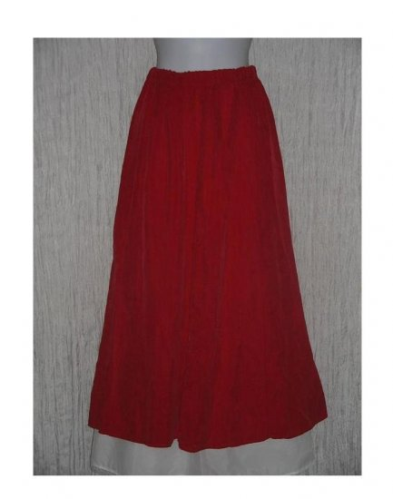 Coldwater Creek Long & Full Soft Velvet Red Rayon Skirt Medium M
