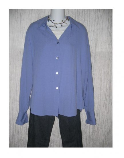 Coldwater Creek Purple Rayon Button Shirt Tunic Top Medium M