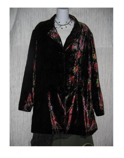 COLDWATER CREEK Vibrant Floral Tapestry Velvet Tunic Jacket 3X