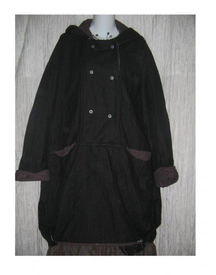 ANGELHEART DESIGNS by Jeanne Engelhart FLAX Long Hooded Bubble Hem Tunic Jacket Coat Medium M