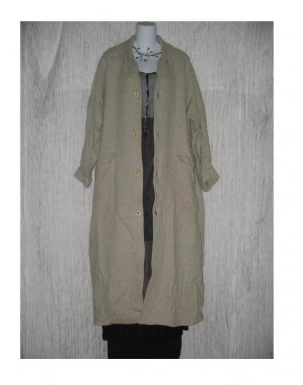 ANGELHEART DESIGNS by Jeanne Engelhart FLAX Long Earthy Wool & Linen Lined Coat Medium M