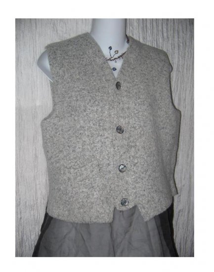FLAX by ANGELHEART Gray Felted Wool Sweater Vest Jeanne Engelhart Medium Large M L