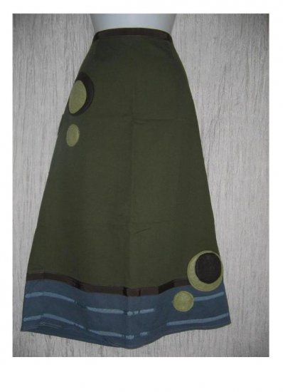 Neesh by D.A.R. Long A-Line Olive Felted Circles Skirt Large L