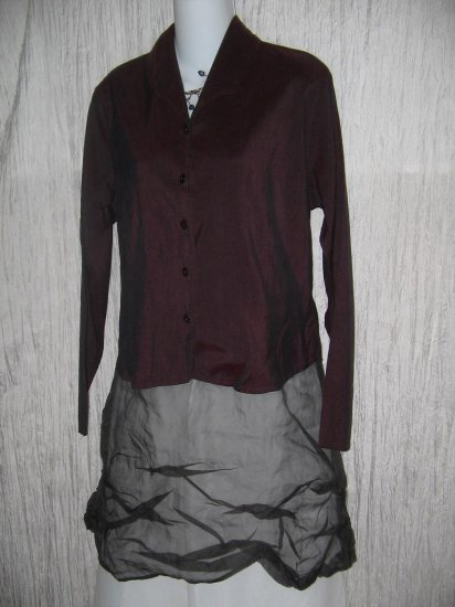 FLAX by Jeanne Engelhart  Shapely Burgundy Silk Button Shirt Tunic Top Jacket Small S