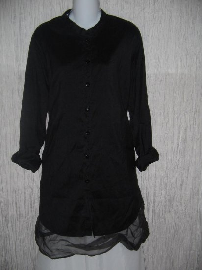 FLAX by Jeanne Engelhart Long Black Silk Button Shirt Tunic Top Jacket Petite P